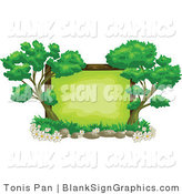 Vector Illustration of a Blank Sign Framed with Trees by Tonis Pan