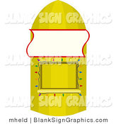 Vector Illustration of a Blank Sign on a Banana Concession Stand by Mheld