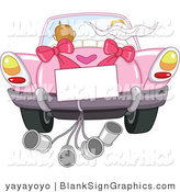 Vector Illustration of a Blank Sign on a Wedding Car with the Bride and Groom Driving Away by Yayayoyo