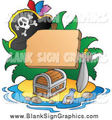 Vector Illustration of a Blank Sign with Treasure and Pirate Hat on an Island by Visekart