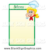 Vector Illustration of a Blond White Female Chef Gesturing Ok on a Green and Yellow Menu Board by Visekart