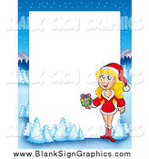 April 19th, 2014: Vector Illustration of a Blond Woman Holding a Gift with a Winter Landscape Around White Space by Visekart