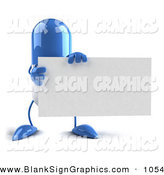 Vector Illustration of a Blue 3d Pill Character Holding a Blank Business Card on White by Julos