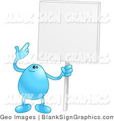 Vector Illustration of a Blue Bean Holding a Blank Sign by AtStockIllustration