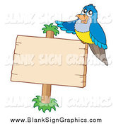 Vector Illustration of a Blue Bird Sitting on a Wooden Sign by Visekart