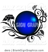 Vector Illustration of a Blue Circle Frame with Black Floral Vines by Dero