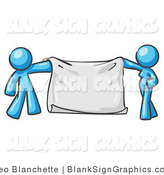Vector Illustration of a Blue Couple Holding a Blank Sign Banner by Leo Blanchette