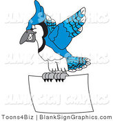 Vector Illustration of a Blue Jay Flying a Blank Sign by Toons4Biz