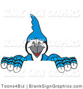 Vector Illustration of a Blue Jay Holding a Blank Sign by Toons4Biz