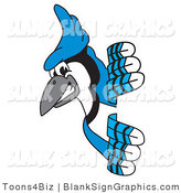 Vector Illustration of a Blue Jay Looking Around a Blank Sign by Toons4Biz