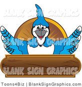 Vector Illustration of a Blue Jay over a Wood Sign by Toons4Biz