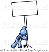 Vector Illustration of a Blue Man Pushing up a Blank Sign by Leo Blanchette