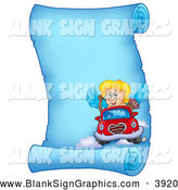 Vector Illustration of a Blue Parchment Page with Cupid Driving a Car by Visekart