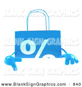 Vector Illustration of a Blue Percent Shopping Bag Pointing to and Standing Behind a Blank White Sign by Julos