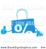 Vector Illustration of a Blue Shopping Bag Giving the Thumbs up and Standing Behind a Blank White Sign by Julos