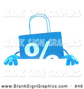 Vector Illustration of a Blue Shopping Bag Standing Behind and Holding up a Blank White Sign by Julos
