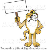 Vector Illustration of a Bobcat Looking Holding a Blank Sign by Toons4Biz