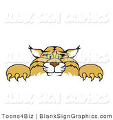 Vector Illustration of a Bobcat Looking over a Blank Sign by Toons4Biz