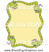 October 19th, 2014: Vector Illustration of a Border of Green Snakes Around Yellow by Visekart