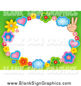 Vector Illustration of a Border of Hearts, Clouds, Flowers and Peace Hands with Green Around White Space by Visekart