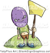 Vector Illustration of a Boy Wearing a Purple Monster Mask and Holding up a Blank Sign by PlatyPlus Art