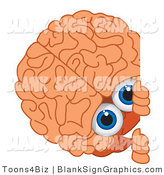 Vector Illustration of a Brain Looking Around a Blank Sign by Toons4Biz