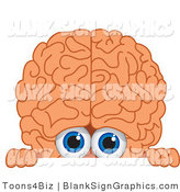 Vector Illustration of a Brain Looking over a Blank Sign by Toons4Biz