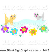 Vector Illustration of a Bright Beige and Gray Cats with a Blank Banner and Flowers by