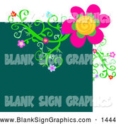 Vector Illustration of a Bright Blank Teal Square with a Flowering Vine Design by