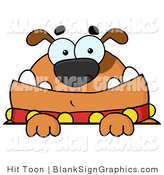 Vector Illustration of a Brown Bulldog Looking over a Blank Sign by Hit Toon