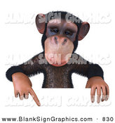 Vector Illustration of a Brown Chimp Character Pointing down at and Holding up a Sign by Julos