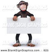 Vector Illustration of a Brown Chimp Character Standing and Holding a Blank Sign on White by Julos