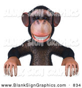 Vector Illustration of a Brown Chimp Character Standing Behind and Holding up a White Sign by Julos