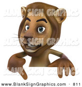 Vector Illustration of a Brown Lion Character Pointing to and Standing Behind a Blank Sign by Julos