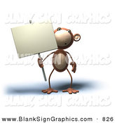 Vector Illustration of a Brown Monkey Character Holding a Sign on a Post by Julos