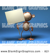 Vector Illustration of a Brown Monkey Character Holding a Sign on a Post on a Blue Background by Julos