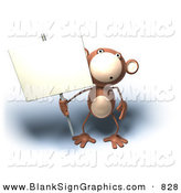 Vector Illustration of a Brown Monkey Character Holding a Sign on a Sign Post by Julos
