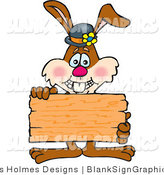 Vector Illustration of a Bunny Rabbit Holding up a Blank Wooden Sign by Dennis Holmes Designs
