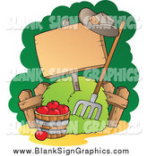 Vector Illustration of a Bushel of Red Apples, Pitchfork and Blank Sign by Visekart