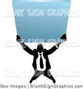 Vector Illustration of a Business Man Holding up a Blank Sign by AtStockIllustration