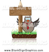 Vector Illustration of a Business Owl and Pencil Sign by Andrei Marincas