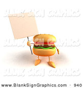 Vector Illustration of a Cartoon Cheeseburger Character Holding up a Sign on a Post by Julos