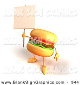 Vector Illustration of a Cartoon Cheeseburger Character Holding up a Sign on a Post on White by Julos