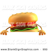 Vector Illustration of a Cartooon Cheeseburger Character Standing Behind a Blank Sign by Julos