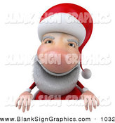Vector Illustration of a Cheerful 3d Santa Character Standing Behind a Blank Sign by Julos