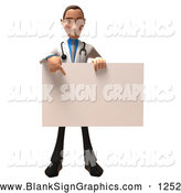 Vector Illustration of a Cheerful 3d White Male Doctor Character Holding up a Blank Sign by Julos