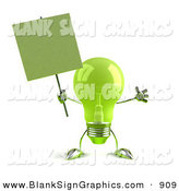 Vector Illustration of a Cheerful Green Glass Light Bulb Character Holding a Blank Sign on a Post by Julos