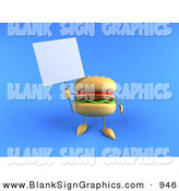 Vector Illustration of a Cheeseburger Character Holding up a Sign on a Post over Blue by Julos