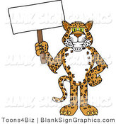 Vector Illustration of a Cheetah Jaguar or Leopard Holding a Blank Sign by Toons4Biz
