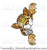 Vector Illustration of a Cheetah Jaguar or Leopard Looking Around a Blank Sign by Toons4Biz